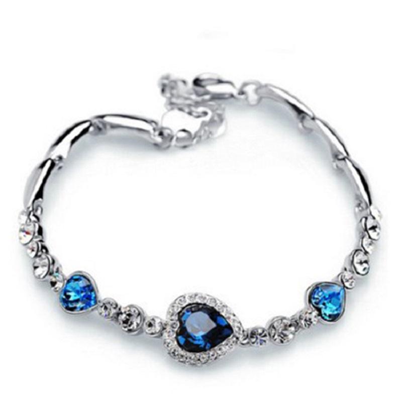 2018 Heart Shape Fashion Design AAA Crystal Bracelet Charm Women Wedding Birthday Party Gift Jewelry Accessories