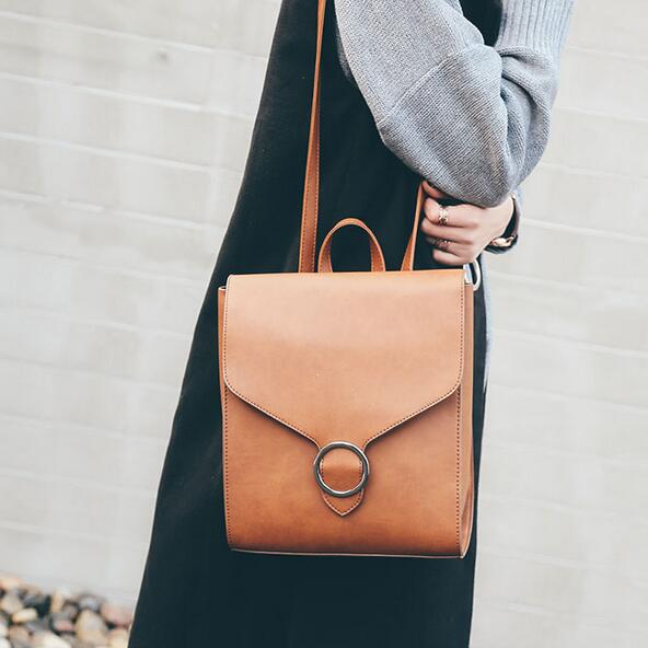 Fashion Women Backpack Pu Leather Retro Female Bag Schoolbags Teenage Girl High Quality Travel Books Rucksack Shoulder Bags #2