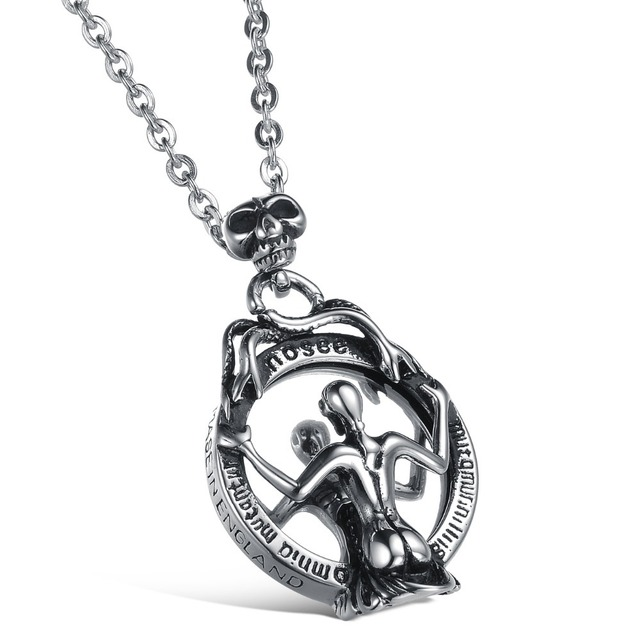 Super Cool Mirror Skeleton Snake Pendant Necklace Titanium Stainless Steel  Men's Jewelry Punk Rock Skull Style