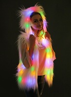 Saints' All Hallows' Day European and Cosplay Hooded Vest, animal fur imitation fur coat, LED Lamp Night Club