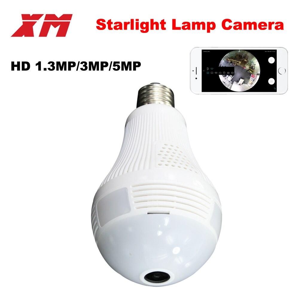 Panoramique 360 VR 960 P 1080 P 3MP HD IP Caméra Smart LED lumières Cam Starlight nuit vision Ampoule de Sécurité À Domicile Caméra XM ICsee