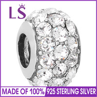 LS 925 Sterling Silver Charm Full Crystal Round Bead Fit Bracelet Snake Chain DIY Jewelry Accessory.10pcs/lot