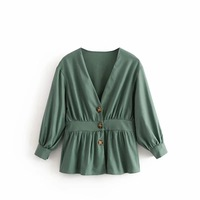 2019 Fashion Spring New Arrival Roupa Feminina Slim Waist Button Adornment Shirt V Neck Womens Tunic Shirts Free Shipping