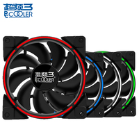 PCcooler Computer Case Cooling Fan LED Ring Fan Quiet 120mm LED Red Blue Green White Light