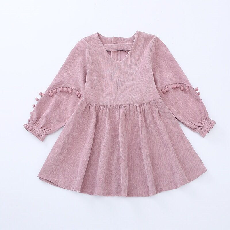 2018 Autumn Corduroy Pompoms Lantern Sleeve Dresses Vintage Style Baby Girl Velvet Dress Bowknot Winter Kids for Girls corduroy overall dress