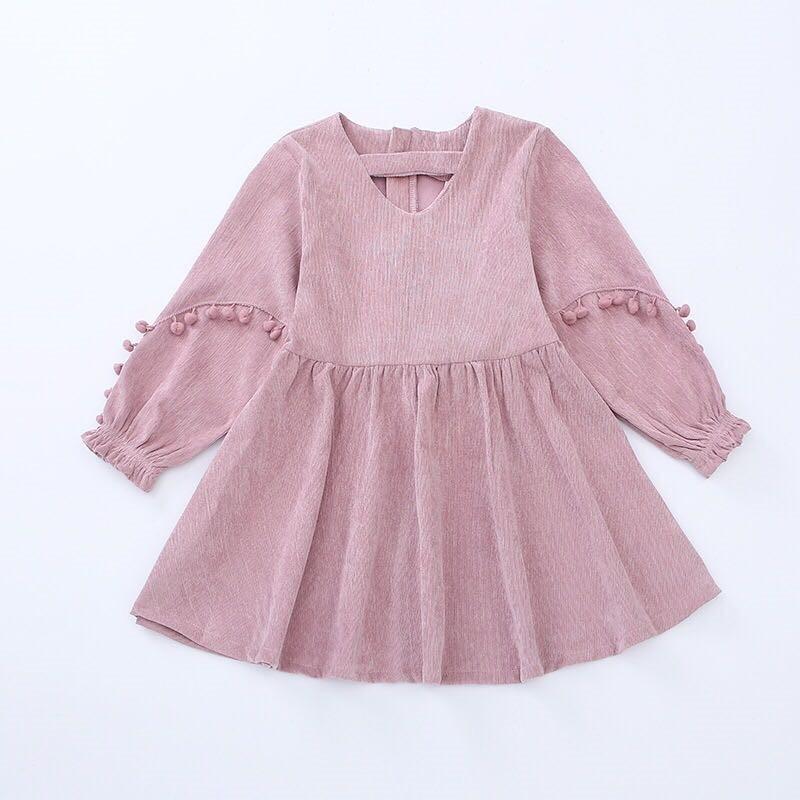 2018 herbst Cord Pompoms Laterne Hülse Kleider Vintage Stil Baby Mädchen Samt Kleid Bowknot Winter Kinder für Mädchen