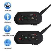 Motorcycle Helmet Bluetooth Headset Wireless Intercom 6 Riders Intercomunicador Headset 1200M BT Interphone E6 Upgrade 2pcs