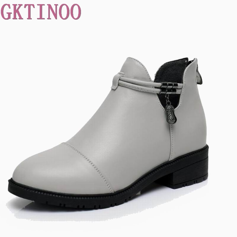 GKTINOO Fashion Women Martin Boots Autumn Winter Boots Med Heel Ankle Boots Genuine Leather Thin Plush Women Shoes ankle strap martin boots pointed ends genuine leather boots thin heel women ankle boots fashion punk style winter boots