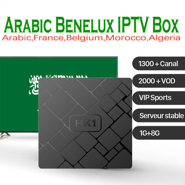 HK1 mini Android 8.1 TV Box RAM 2GB ROM 16GB H.265 4K HD with 1 year Benelux Morocco IPTV subscription 1300 Live 2000VOD NEOTV