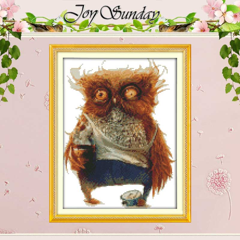 Corak Burung Hantu Dihitung Stitch Cross DIY 11CT Dicetak 14CT Cross Stitch Set Haiwan Cina Cross-stitch Kit Embroidery Needlework