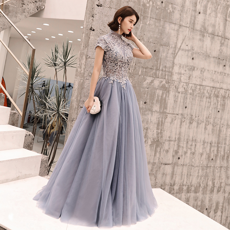 Beauty Emily Long Lace Evening Dresses 2019 Floor-Length Formal Party Prom Gowns