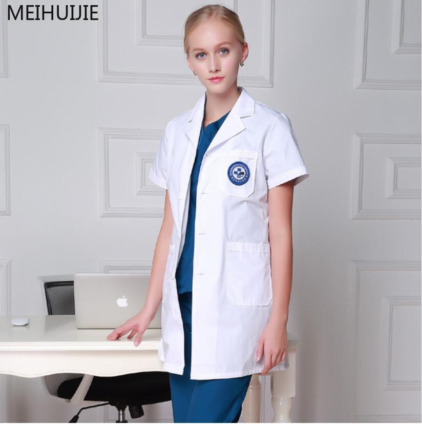 Korean Version Slim Fit Women Lab Coat Robe Medical  Hospital  White Medical Gowns  Women And Men  Coat Dentist Doctor Work Wear
