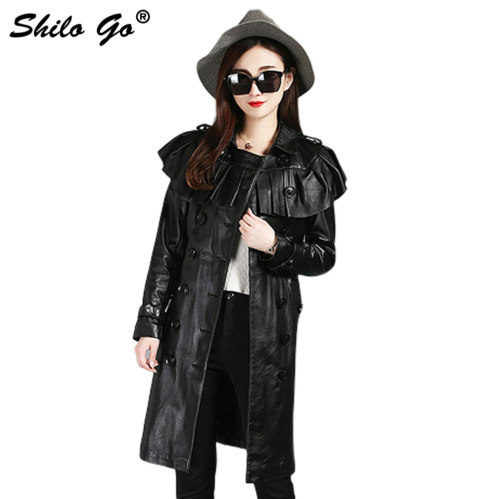 SHILO GO Leather   Trench   Womens Autumn Fashion sheepskin genuine leather long coat ruffles collar double breasted loose coat