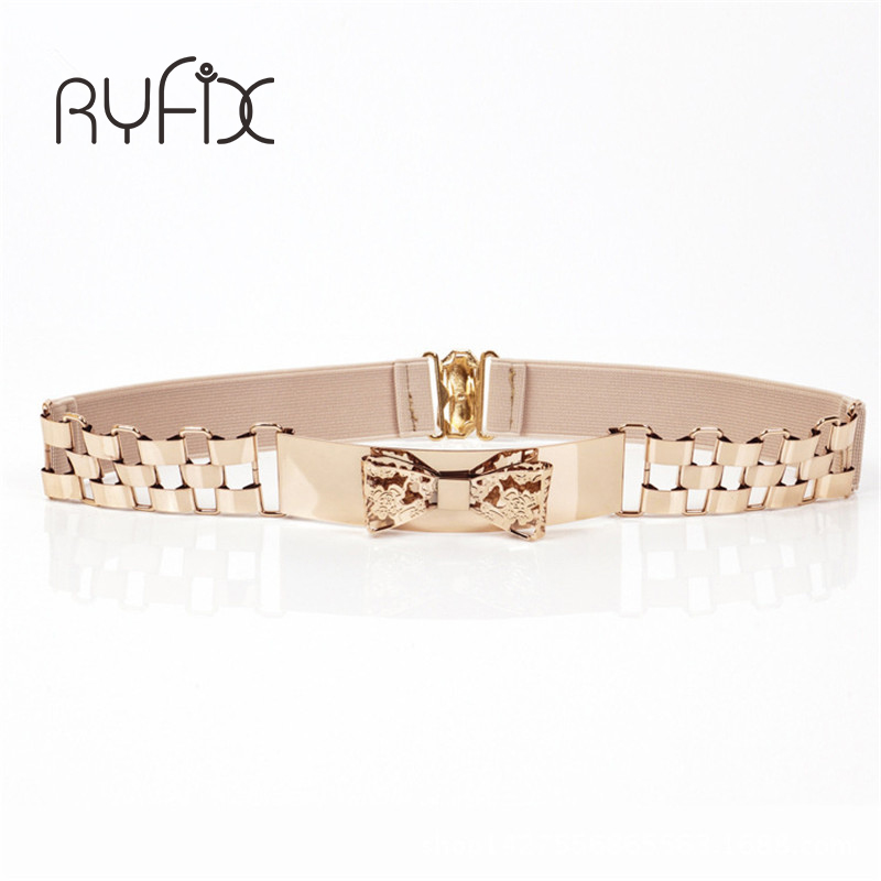 Free Shipping Women Waist Band Elastic Mirror Metal Waist Belt Leather Metallic Bling Gold Plate Wide Elastic BL62