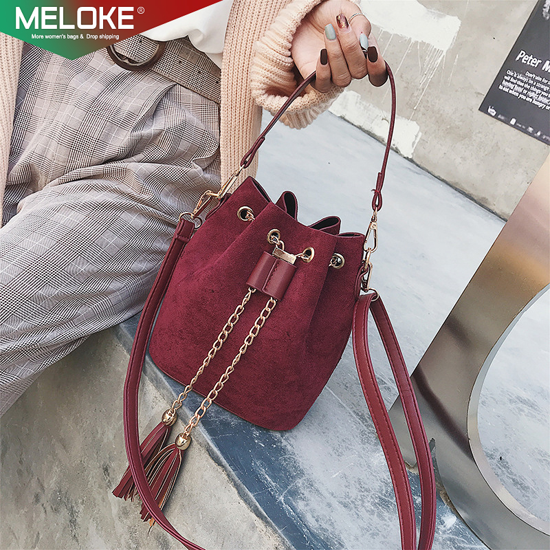 Meloke 2019 High Quality Women Suede Shoulder Bags Tassel Bucket Bags For Girls Crossbody Bags Women's Bag Sac A Main Femme M337