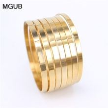 MGUB Gold color 5mm wide 70cm in diameter stainless steel 7pcs combination simple bracelet men and women jewelry LH511
