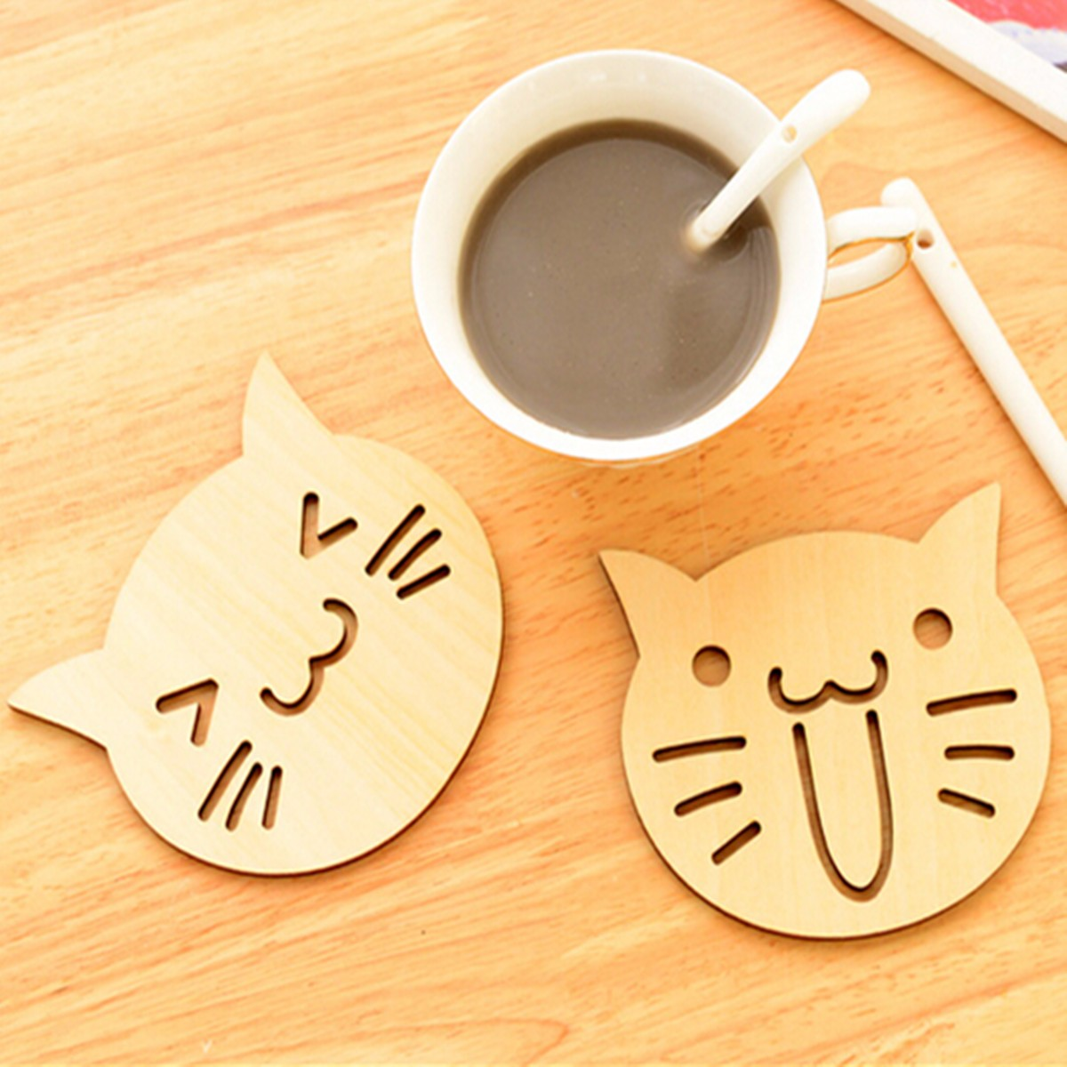 wooden tea coaster promotionshop for promotional wooden tea  - new drinks coffee tea holder pcs cute cat owl wooden carved coasters cupmug mat kitchen table decor placemat
