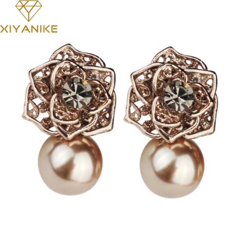 b7b2c19c6f10f6 XIYANIKE 2018 New Fashion Luxury Vintage Unique Rose Flower Imitate Pearl  Stud Earrings For Women Gift