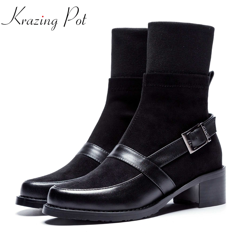 Krazing Pot 2019 cow leather velvet high street fashion boots med heel round toe equestrian Chelsea motorcycle ankle boots L17Krazing Pot 2019 cow leather velvet high street fashion boots med heel round toe equestrian Chelsea motorcycle ankle boots L17