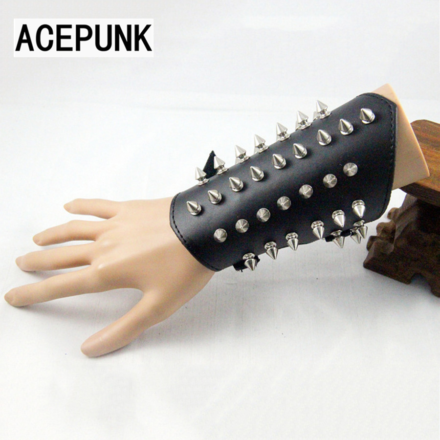 Fashion Wrist Length Hand Chain Non-Mainstream Spike Wrist Support Hand Chain Black Bracelet Rock Unisex Bracelet Men Jewelry