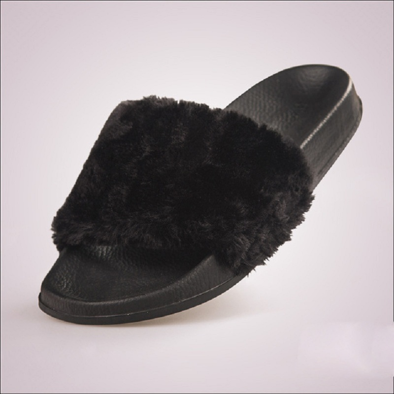 Fluffy Fur Women Slippers Fashion Slides Women Plush Winter Shoes Casual Shoes Flats White Black Chaussure Femme plush winter slippers indoor animal emoji furry house home with fur flip flops women fluffy rihanna slides fenty shoes