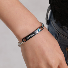 Romantic His Queen Her King Couple Bracelets Stainless Steel Matching Wristband Lovers Bracelet Crown Charm