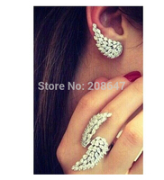 clear white stone with white gold color micro pave setting angel wings ear cuff earrings free shipping