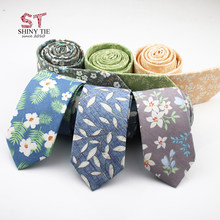 2018 New Designer 100% Cotton Neck Tie For Men Business Artificial Slim Tie Small Cravat Skinny Corbatas Party Gift Accessories(China)