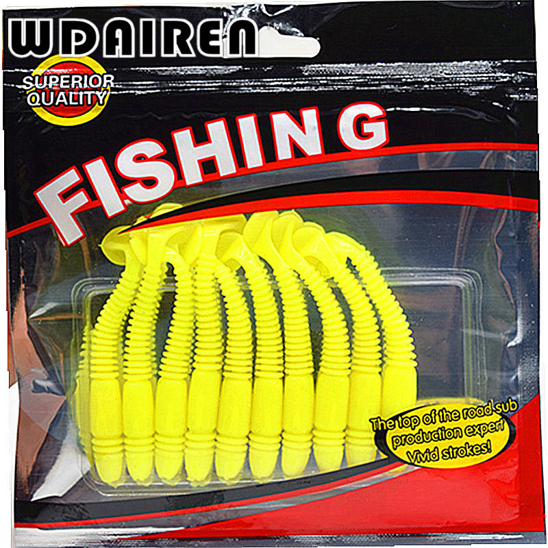 10Pcs/lot Artificial Fishing lure salt smell 7.5cm 2.9g vivid Fishing Worm Swimbait Soft Lure Fishing Bait Fishing Lure FA-341 10pcs lot 7 5cm 2g soft bait worm swimbaits fishing lure fly fishing bait artificial 8 color silicone t tail lure fa 397