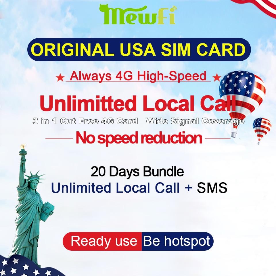 Mewfi T-Mobile Téléphone Sim Carte 4g Données Standard/Nano/Micro 3-en-1 20 jours Appels Locaux Illimités + SMS Nord Américain Voyage Sim Carte