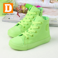 New 6 Colors Fashion Children Shoes 2015 Spring Autumn Colorfur Kids Sneakers Fluorescence Solid Canvas Shoes