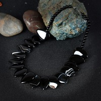 35dc81cfb160 KCALOE 2017 New Statement Chokers Necklaces Vintage Accessories Natural Onyx  Big Black Agate Stone Handmade Necklace