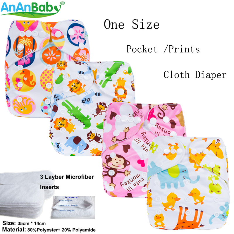 Ananbaby Cloth Diaper Baby Waterproof Reusable Diapers Infant Baby Nappy Cover Couches Lavables Adjustable Cotton Diapers 1 Size hangqiao baby 3 layers white burp cloths cloth diapers cotton diapers diapers diaper