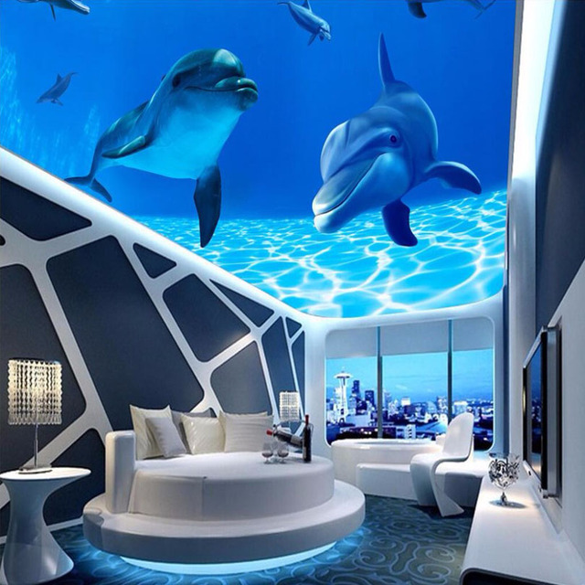 Custom personality ceiling wallpaper undersea dolphin wall for Papel pintado para paredes 3d