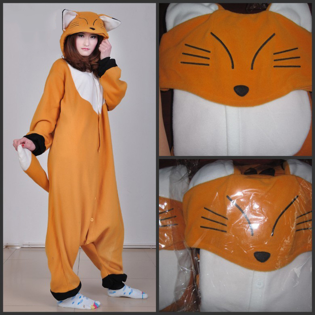 0ba7939cb5 2019 Adult Women Men Orange Fox Onesies Costume Cosplay Pajamas Pyjamas  Cartoon 3D Animal hooded Tracksuit Sleepwear Halloween