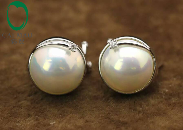 Caimao Romantic For Engagement & Wedding Round Freshwater White Pearl 14k White Gold Earring Free shipping