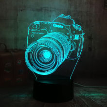Lustre Cool 3D Camera USB LED Lamp Decoration Home Kids Sleep 7 Color Change Night Light Illusion Bedroom Table Desk Lamp Gift(China)