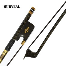цена на SURVEAL Handmade Master Carbon Fiber Cello Bow Size 4/4 Natural White Horse hair Ebony Frog Carved Best Elastic with Warm Sound
