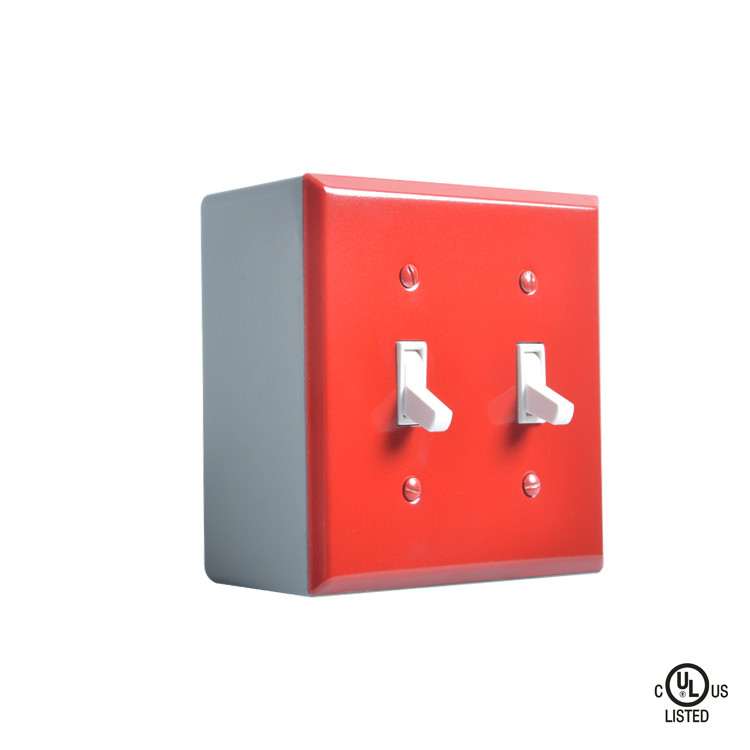 US standard 2 gang 2 way Surface-type Push-button Switch and  die-cast aluminum panel wall switch usb3 0 round type panel mounting usb connecter silver surface