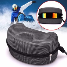 Protection EVA Snow Ski Eyewear Case Snowboard Skiing Goggles Sunglasses Carrying Zipper Hard Box Holder(Without Goggles)