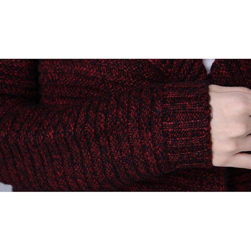 Chandail d'extérieur pour femmes 2019 nouveau hiver femme moyen-long cardigan épais à manches longues automne lâche maman tricoté manteau - 6