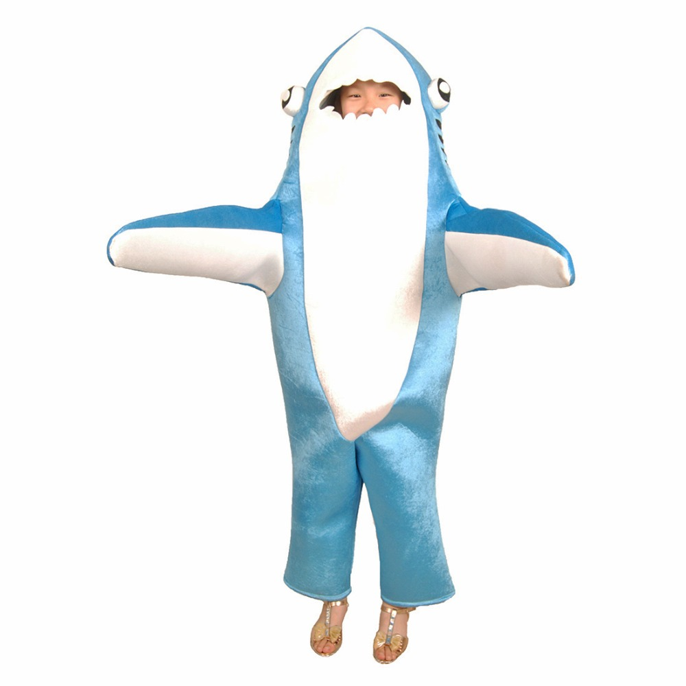 kids shark costume cute mascot costume blue funny shark cosplay fleece fullbody animal costume halloween costume for children in kids costumes accessories