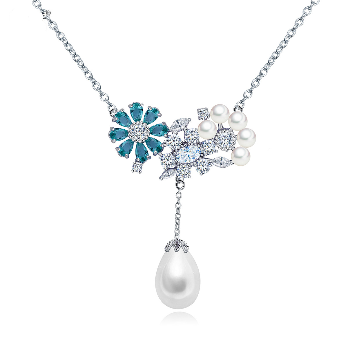 Online get cheap flower girl gifts aliexpress alibaba group charm flower tear drop pearl pendant necklace cubic zircon crystal wedding party collar jewelry accessories ol style girls gift dhlflorist Image collections