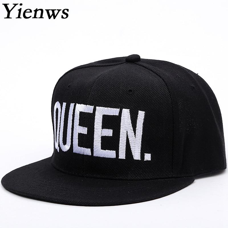 Yienws Stylish Straight Cap for Men Full Cap Hat Baseball Black Bone Gorras Planas Snapback Hip Hop Cap KING QUEEN YIC228