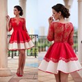 Robe De Cocktail Dresses With Knee Length Red Lace Satin HalfSleeve Applique A Line Vestido De Festa Curto 2016 Homecoming Dress