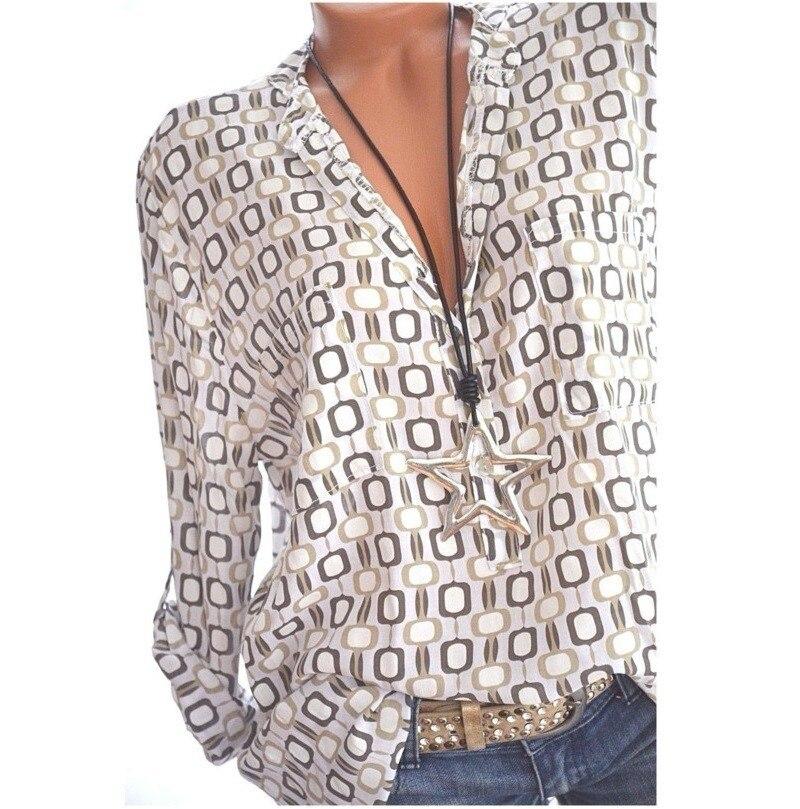 נשים חולצות קיץ סתיו מזדמן V-צוואר Loose שיפון חולצה נשים למעלה Camisa Feminina ארוך שרוול גבירותיי הדפסת חולצות חולצה