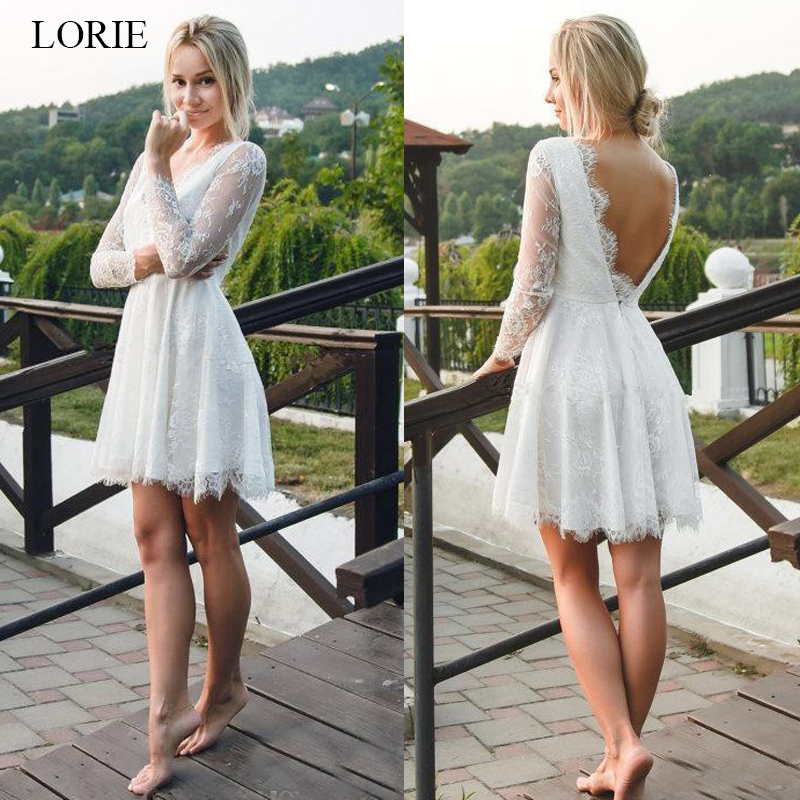 LORIE Mini Short Wedding Dress 2019 Lace Bridal Gowns Long Sleeve Sexy Backless Beach Wedding Party Dress Custom Made