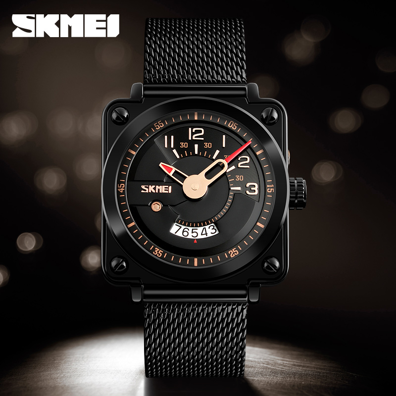 SKMEI Mens Watches Top Brand Luxury Mesh Strap Quartz Watch Waterproof Military Sport Wrist Watch Clock Men Relogio Masculino skmei 6911 womens automatic watch women fashion leather clock top quality famous china brand waterproof luxury military vintage
