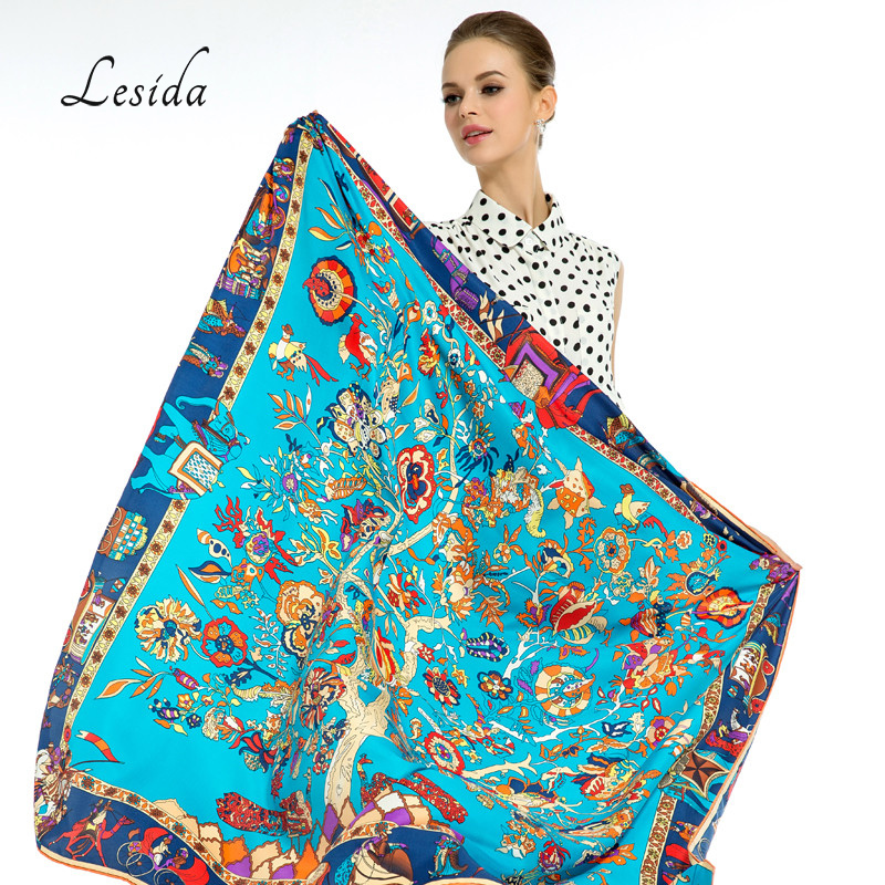 LESIDA Pure Silk Scarf Kvinner Store Sjaler Stoles Trætrykk Square Scarves Echarpes Foulards Femme Wrap Bandanas 130 * 130CM 1303