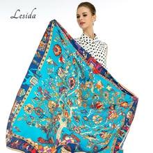 Lesida lenço de seda pura mulher grandes xales stoles árvore impressão quadrado cachecóis echarpes foulards femme bandanas envoltório 130*130cm 1303